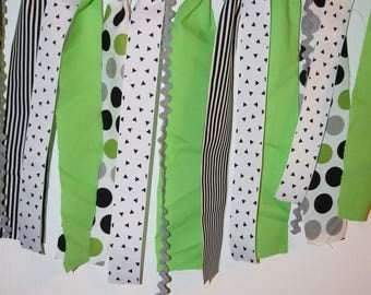 Fiesta Fabric Garland,High Chair Banner, Green and Black Garland, Birthday, Photo Prop, Backdrop, Nursery Decor