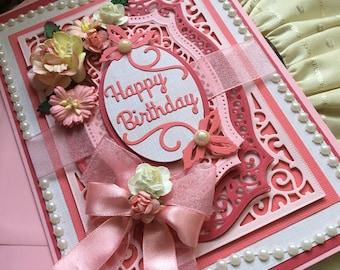 Handmade, Luxury, Birthday Card, A5, Peach
