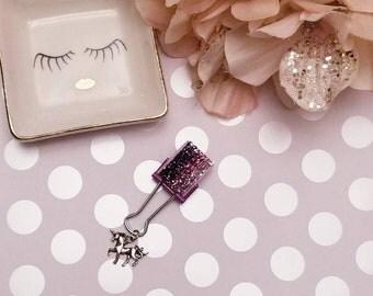 Sparkled Ombre Unicorn; pen clip, pen loop