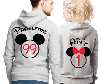 99 Problems, Ain't 1 couple matching  heather grey hoodies set with mouse ears.
