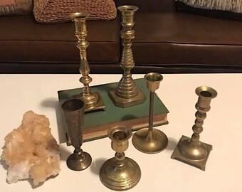 Set of 6 Brass Candlesticks