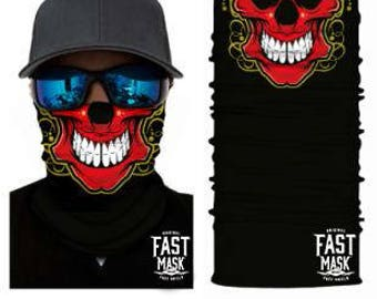 Red Skull Face Shield- Free Shipping to Canada & USA - 100% Microfibre | Face Mask | Biker Face Shield | Bandana | Tubular Bandana