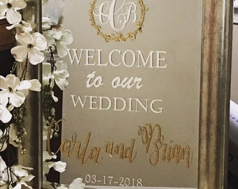 Wedding Mirror Welcome Sign, Mirror, Welcome Sign