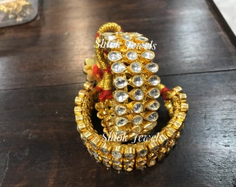 Hand pauchi 'An Indian Rajputi jewellery' made in all white kundan
