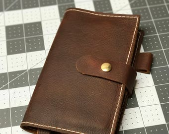Handmade leather journal cover.