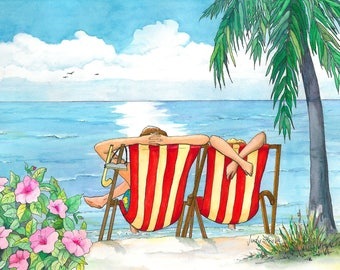 "Ocean view - Couple Relaxing in Beach Chairs with Beautiful Ocean View. 5""X7"" Matted Watercolor Print"