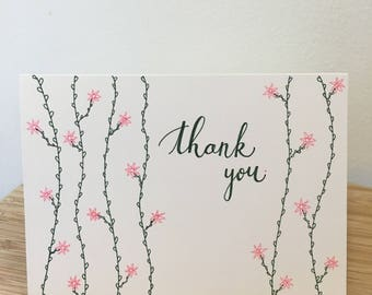 Hand Drawn Vines and Flowers Thank You Card