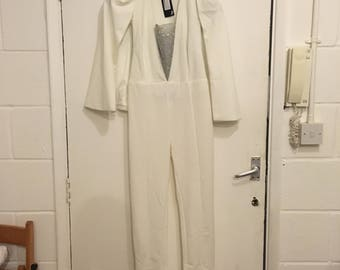 white jumpsuit with cape and crystal insert - Allyson - size medium
