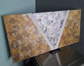 Silver and gold acrylic painting, one of a kind abstract painting for home / office, gallery stretched canvas, original art, medium painting