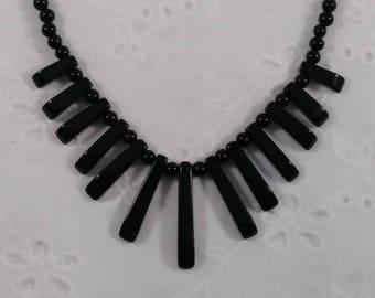 Vintage Black Glass Bead Choker Necklace