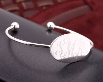 Personalized Oval Comfort Fit Bangle - 3 Colors! -Free Shipping