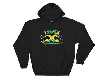 I Love Soca Jamaica  Black Hooded Sweatshirt