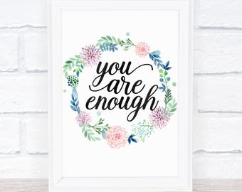You Are Enough Print, Selflove Printable Art, Modern Decor, Wall Art Gift Idea, Motivation Bible Quote, Pink Watercolor