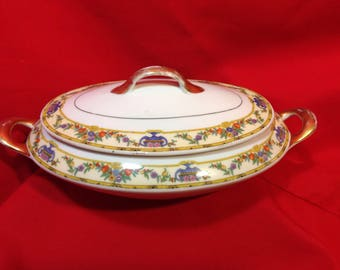Antique Victoria China COVERED VEGETABLE BOWL Czechoslovakia