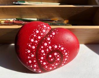 Heart Swirl Painted Rock