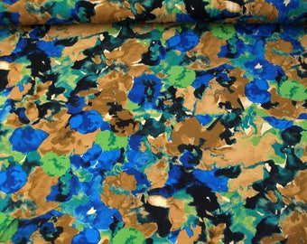 Viscose jersey 99-035-BVO with floral print blue-brown-green-black