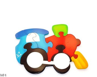 Puzzle means of transport-train, in MDF-educational-6 pieces