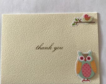 Handmade Greeting Card Thank You Note / Owl and Birl / Ivory&Gold Tone