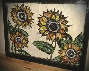 Sunflower window painting