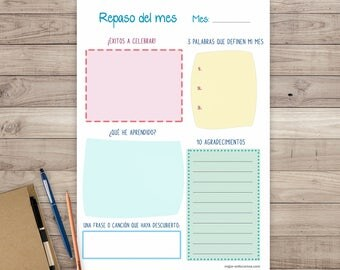 Monthly Printable review Planner. Monthly Planner. Organizer Agenda Cheerful Colors