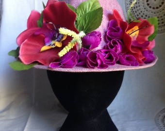 One off incredible flowery pink fedora