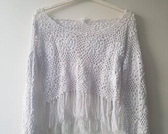 Crochet white crop top