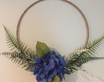 Blue Hydrangea Burlap Hoop Wreath with Fern Greenary