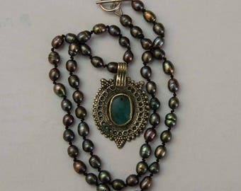 Pearl Necklace with Kuchi Pendant