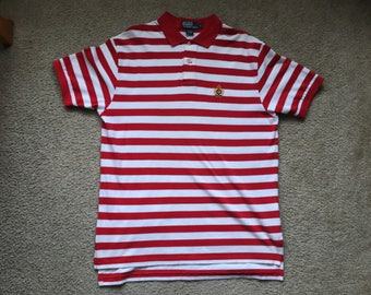 Men's Vintage 90s Polo Ralph Lauren Striped Polo Shirt Size Large
