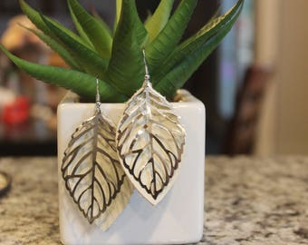 recycled cream leather OR gold speckle natural cork leaf shaped earrings, petal shaped, with silver leaf filigree on nickel free hooks