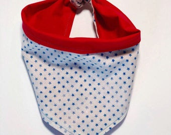 Star Spangled Banner | Blue Star and Red Reversible Pet Bandana | Dog Bandana | Cat Bandana |