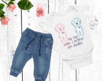 Big Sister Brother Doodle Infant Onesie - GoldenDoodle LabraDoodle BerneDoodle Baby Shower