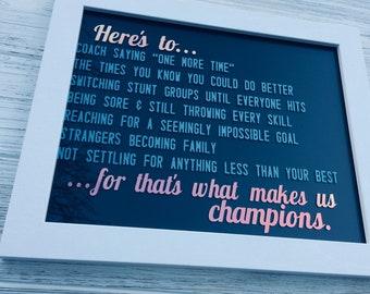 Inspirational Cheerleading Quote : Handmade Sign