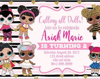 LOL Surprise Birthday Invitation, LOL Surprise Invitation, LOL Surprise Themed Party, Lol Surprise Invite, Lol Surprise Dolls
