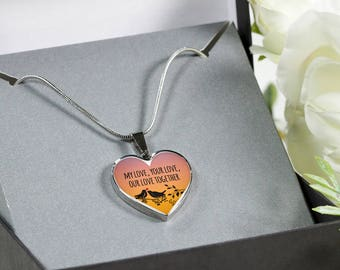 My love, your love, our love together-stainless steel- heart pendant necklace-personalized jewelry-custom gift-love jewelry-jewelry for her
