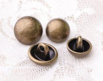 mushroom buttons 10pcs 2 size 12*9/10*8mm metal buttons bronze buttons shank buttons
