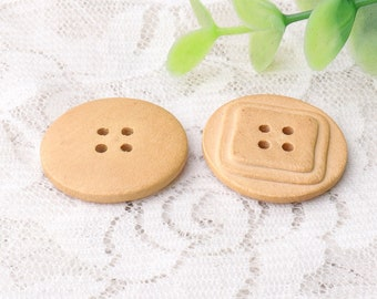 natural wood buttons 10pcs 26mm 4 hole sewing wooden buttons round buttons square back wood buttons