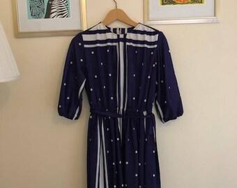 Navy Vintage Printed Dress
