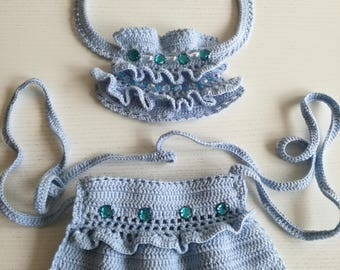Light blue knitted necklace and bag
