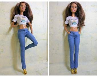 Barbie clothes Barbie Jeans Denim pants for Barbie doll (M2M, Belly Batton) Slim jeans