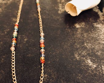 Dainty multi-color stone necklace