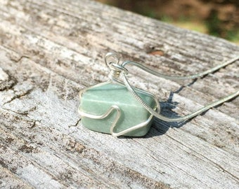 Soft green marble necklace