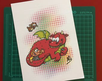 Art Print on card signed by Ric Lumb - Dragon from A Knight Before Christmas