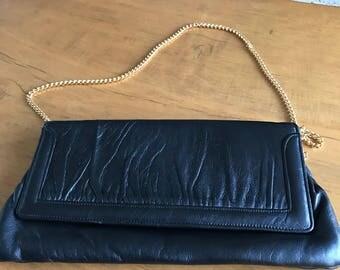 Cute Vintage Black Leather Shoulder bag with gold chain detail