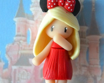 Baby Minnie red dress, blond hair - Disney Collection - jewelry polymer clay handmade