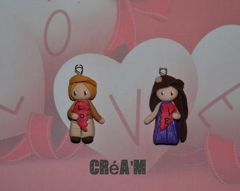 Set of 2 Poupettes boy + girl with heart version 2 - Valentine's day Collection - jewelry handmade