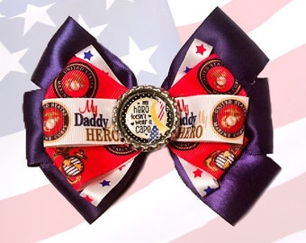 United States Marine Corps Daddy is My Hero Hair Bow