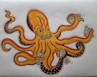 Octopus bartender A4 print