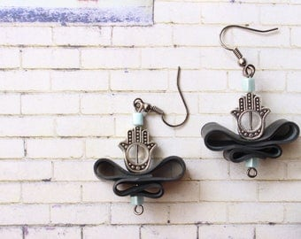 Fatima (handmade earrings from recycled bicycle inner tube and beads)