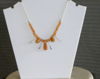 Citrine and silver dangle necklace